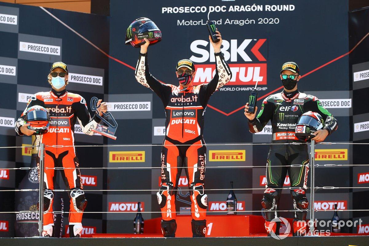Chaz Davies, Arubait Racing Ducati, Scott Redding, Arubait Racing Ducati, Jonathan Rea, Kawasaki Racing Team