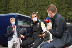 Cyril Abiteboul, Managing Director, Renault F1 Team, is interviewed by Simon Lazenby, Sky TV, and Anthony Davidson, Sky TV, on Sky Sports F1