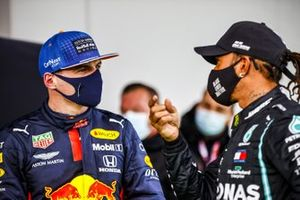 Max Verstappen, Red Bull Racing and Race Winner Lewis Hamilton, Mercedes-AMG F1 in Parc Ferme