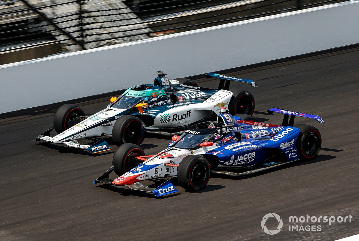James Davison, Dale Coyne Racing w/ Rick Ware Racing, Byrd & Belardi Honda y Fernando Alonso, Arrow McLaren SP Chevrolet