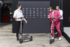 Lewis Hamilton, Mercedes-AMG F1, on a scooter