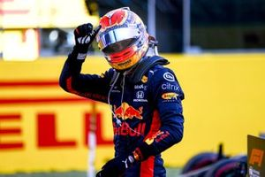 Alex Albon, Red Bull Racing, 3rd position, celebrates on arrival in Parc Ferme