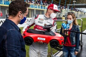Nico Müller, Audi Sport Team Abt Sportsline getting a Bobby Car for the birth of his child