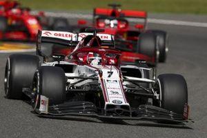 Kimi Raikkonen, Alfa Romeo Racing C39, Sebastian Vettel, Ferrari SF1000, and Charles Leclerc, Ferrari SF1000
