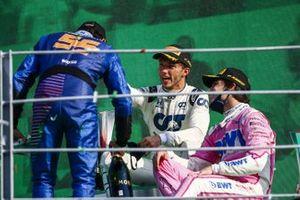 Pierre Gasly, AlphaTauri, 1st position, congratulates Carlos Sainz Jr., McLaren, 2nd position, with Lance Stroll, Racing Point, 3rd position,