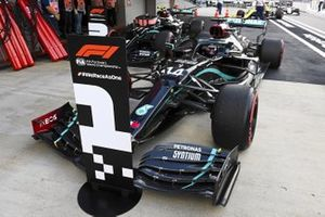 Pole Sitter Lewis Hamilton, Mercedes F1 W11 drives in to Parc Ferme