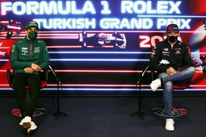 Lance Stroll, Aston Martin Max Verstappen, Red Bull Racing at the press conference