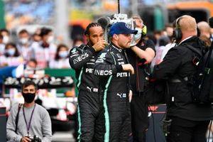 Lewis Hamilton, Mercedes, and Valtteri Bottas, Mercedes, in Parc Ferme