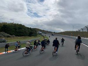Cycling through the Arie Luyendyk corner at Circuit Zandvoort