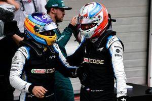Fernando Alonso, Alpine F1, congratulates and celebrates with Esteban Ocon, Alpine F1, 1st position, in Parc Ferme