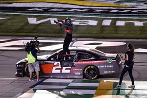 Austin Cindric, Team Penske, Ford Mustang Snap-On, celebrates after winning in Kentucky