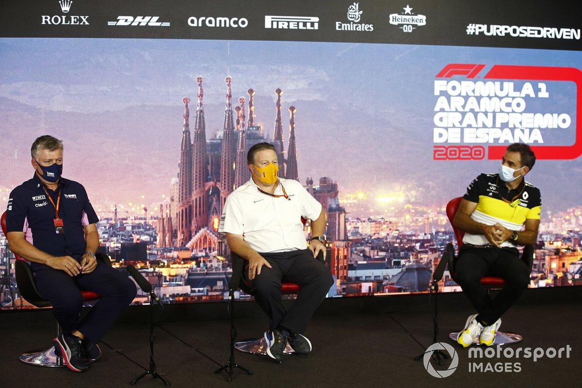 Otmar Szafnauer, Director del equipo y CEO de Racing Point, Zak Brown, Director Ejecutivo de McLaren y Cyril Abiteboul, Director General del equipo Renault F1