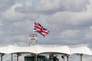 The Union flag flies over the BRDC club house