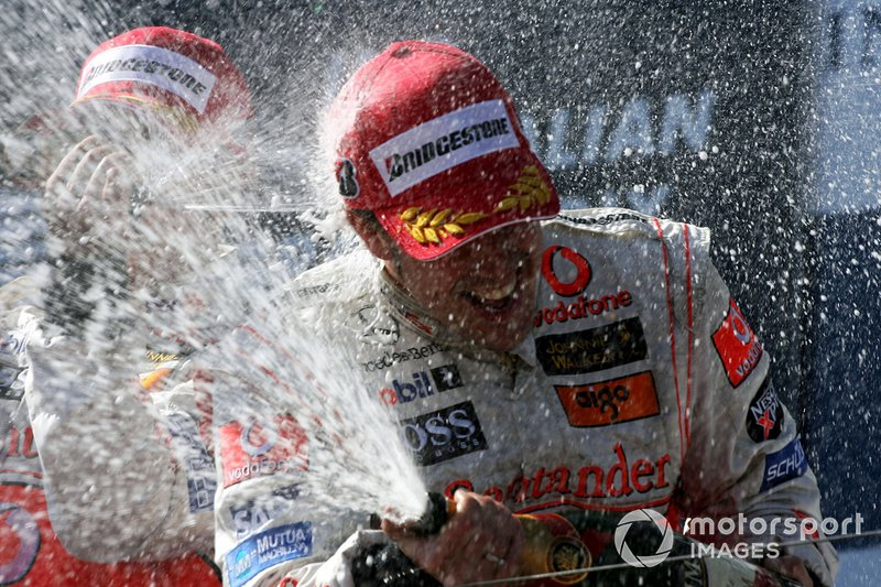 Second place Fernando Alonso, McLaren celebrates on the podium