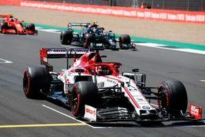 Kimi Raikkonen, Alfa Romeo Racing C39, Valtteri Bottas, Mercedes F1 W11, and Charles Leclerc, Ferrari SF1000