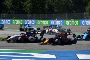 Igor Fraga, Charouz Racing System, leads Dennis Hauger, Hitech Grand Prix, Federico Malvestiti, Jenzer Motorsport, and Niko Kari, Charouz Racing System