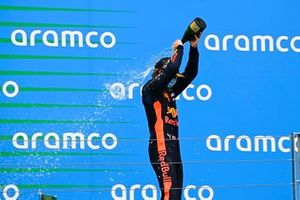 Dennis Hauger, Hitech Grand Prix celebrates on the podium with the champagne