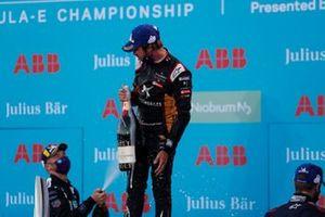Antonio Felix da Costa, DS Techeetah celebrates his win on the podium