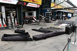 Haas equipment is packed away in the pitlane