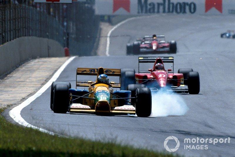 Michael Schumacher, Benetton B191B Ford y Jean Alesi, Ferrari F92A