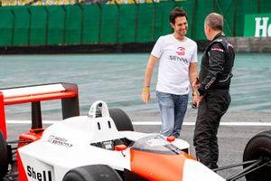 Bruno Senna and Martin Brundle, Sky TV with the McLaren MP4/4