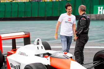 Bruno Senna and Martin Brundle, Sky TV with the McLaren MP4/4