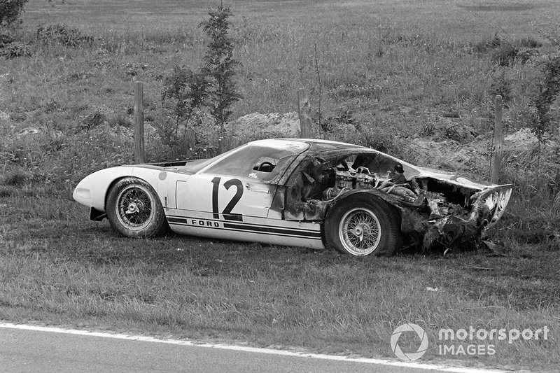 The remains of Ford GT40 of Richard Attwood, Jo Schlesser