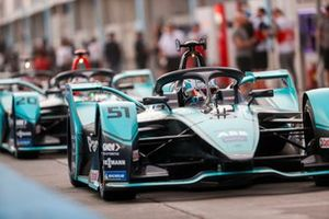 James Calado, Jaguar Racing, Jaguar I-Type 4 exits the pit lane