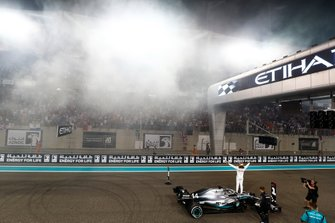 Lewis Hamilton, Mercedes AMG F1, celebrates victory at the end of the race
