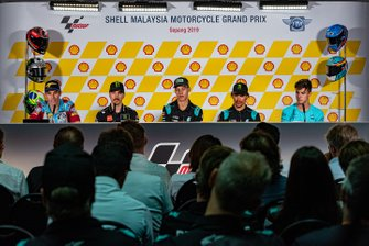 Conferenza stampa Post-Qualifiche: Alex Marquez, Marc VDS Racing, Maverick Vinales, Yamaha Factory Racing, Fabio Quartararo, Petronas Yamaha SRT, Terzo classificato Franco Morbidelli, Petronas Yamaha SRT, Marcos Ramirez, Leopard Racing