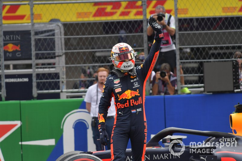 Pole man Max Verstappen, Red Bull Racing, celebrates on the grid after Qualifying