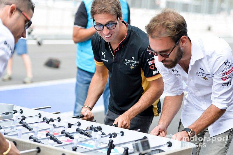 Antonio Felix da Costa, DS Techeetah, Jean-Eric Vergne, DS Techeetah play table football against the Venturi drivers