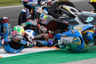 Lorenzo Dalla Porta, Leopard Racing, Tony Arbolino, Team O, John McPhee, SIC Racing Team, Alonso Lopez, Estrella Galicia 0,0 crash