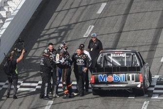 Todd Gilliland, Kyle Busch Motorsports, Toyota Tundra Mobil 1, celebrates after winning