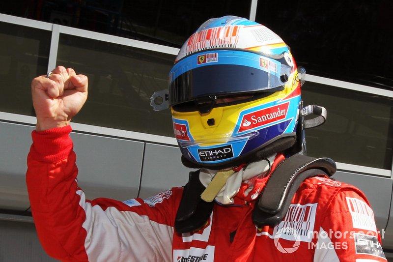 Pole sitter Fernando Alonso, Ferrari, al GP d'Italia del 2010