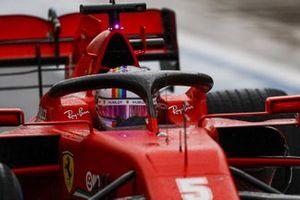 Sebastian Vettel, Ferrari SF1000, in the pit lane