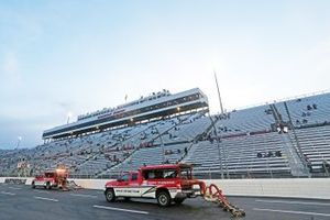 Nascar track drying team works to dry the track