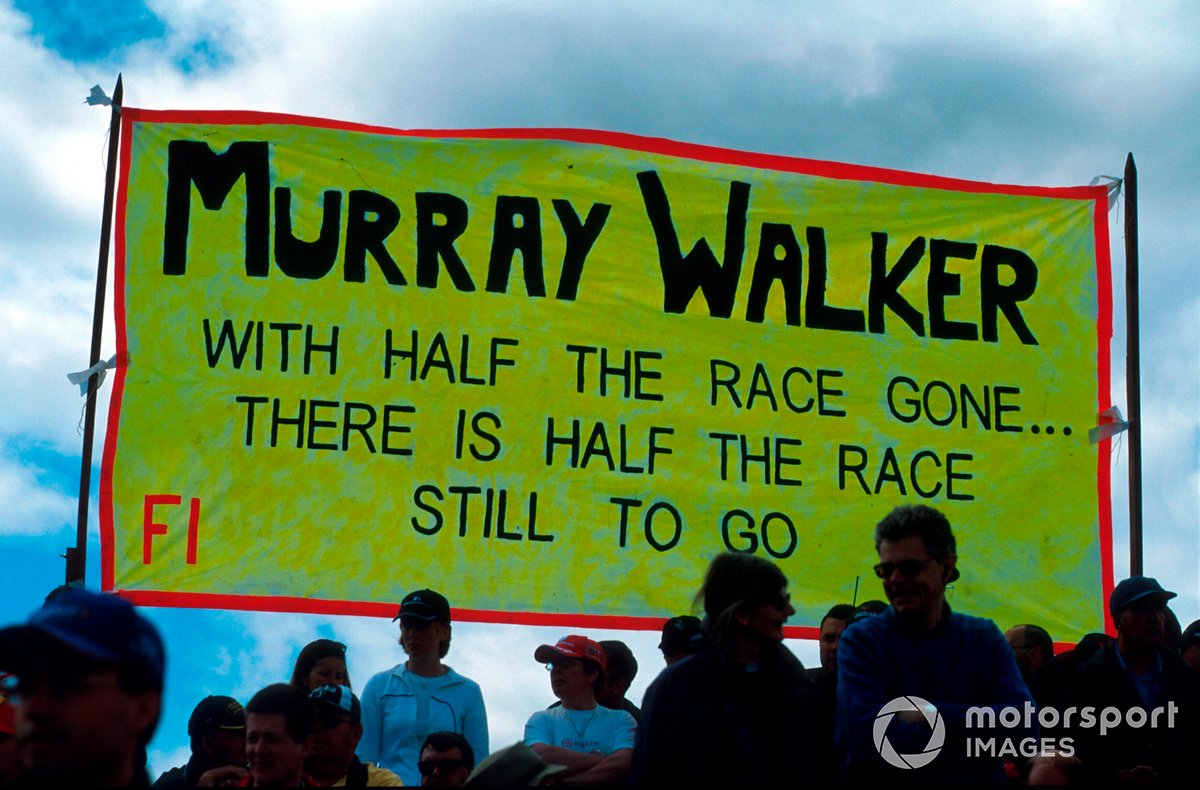 Always a fan-favourite, banners celebrating Murray's career were plentiful at the 2001 British Grand Prix.