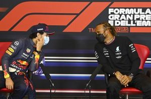 Sergio Perez, Red Bull Racing, and pole man Lewis Hamilton, Mercedes, in the post Qualifying Press Conference