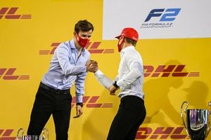 F2 Championship 2nd position Callum Ilott, UNI-Virtuosi and 1st position Mick Schumacher, Prema Racing celebrate on the podium