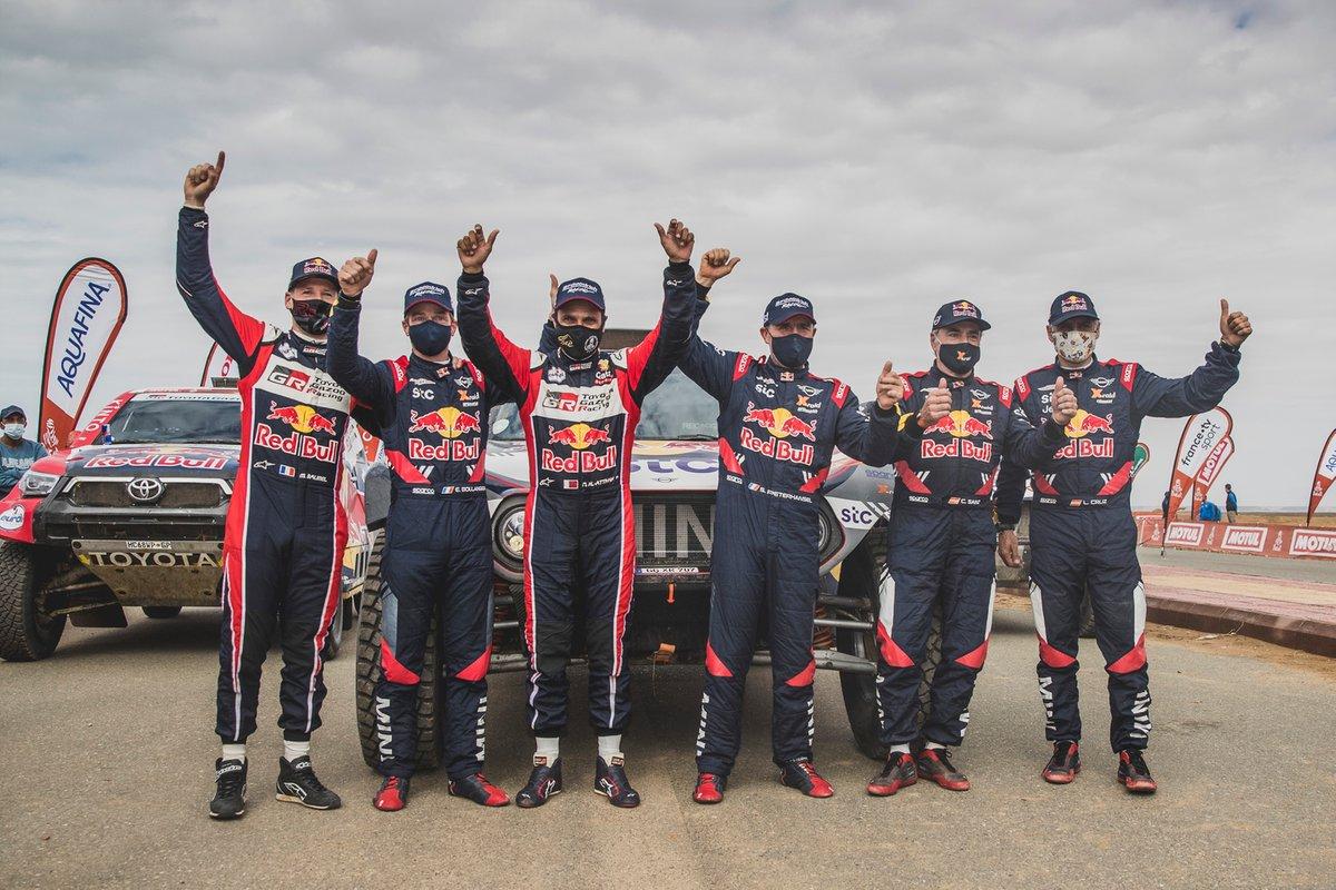 #302 X-Raid Mini JCW Team: Stéphane Peterhansel, #300 X-Raid Mini JCW Team: Carlos Sainz, #301 Toyota Gazoo Racing: Nasser Al-Attiyah