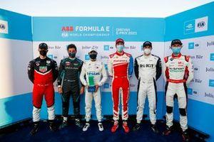 Superpole-Teilnehmer: Polesitter Nyck de Vries und Pascal Wehrlein, Mitch Evans, Alex Lynn, Edoardo Mortara, Rene Rast