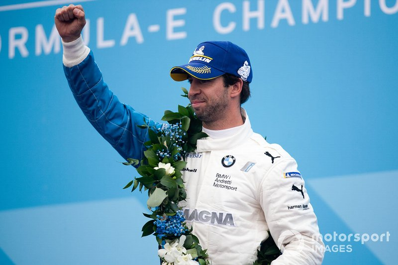 Antonio Felix da Costa, BMW I Andretti Motorsports celebrates victory on the podium