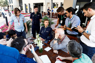 Sergey Sirotkin, Williams Racing, talks to the press
