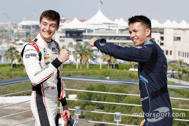 George Russell, ART Grand Prix and Alexander Albon, DAMS