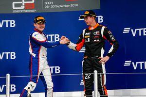 Podium : le vainqueur David Beckmann, Trident, le troisième, Richard Verschoor, MP Motorsport