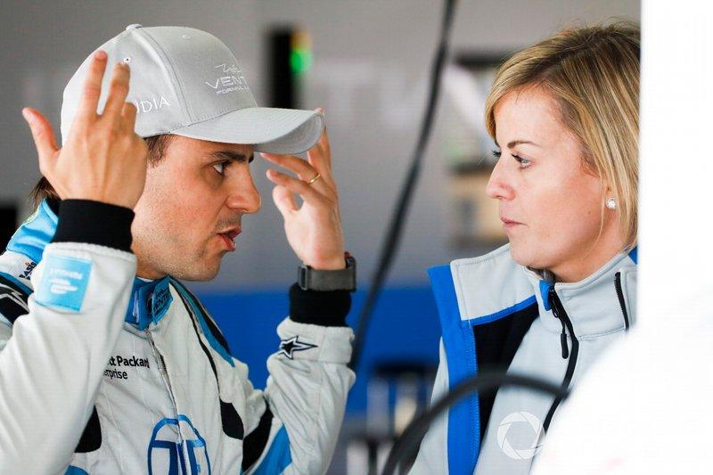 Felipe Massa, Venturi Formula E, talks with Susie Wolff, Team Principal, Venturi Formula E