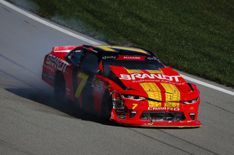 Justin Allgaier, JR Motorsports, Chevrolet Camaro BRANDT Professional Agriculture with crash damage