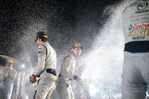 #77 Mazda Team Joest Mazda DPi, P: Oliver Jarvis, Tristan Nunez, Lucas Di Grassi, #55 Mazda Team Joest Mazda DPi, P: Jonathan Bomarito, Marino Franchitti, Spencer Pigot, Podium Celebration, Champagne