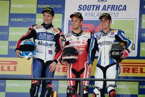 Podium: Race winner Michel Fabrizio, Ducati Team, second place Carlos Checa, Althea Racing, third place Leon Haslam, Team Suzuki Alstare